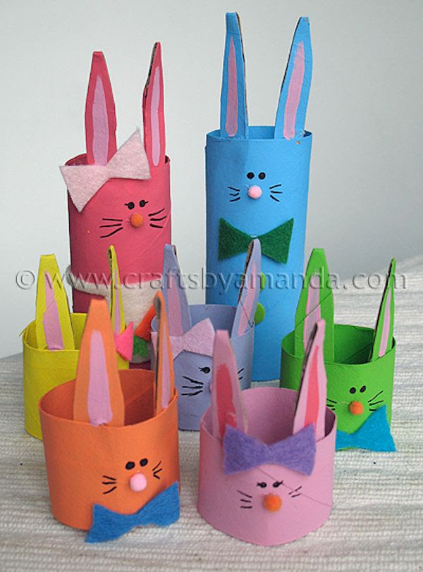Make this easy Easter bunny family from Crafts by Amanda with cardboard tubes you have at home.