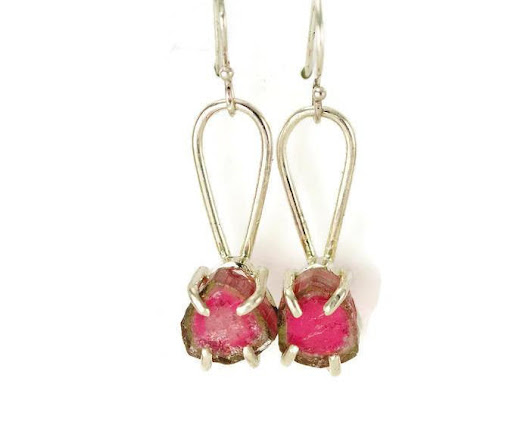 Watermelon Tourmaline Dangle Earrings - Raw Crystal Tourmaline Sterling Earrings