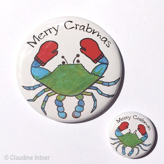 Merry Crabmas - Christmas magnet, pin, or pocket mirror - funny blue crab with mittens, happy holidays humor, Chesapeake Bay