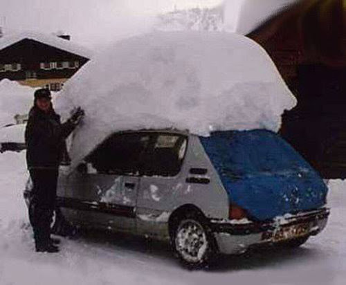Snow On Top Of The Car