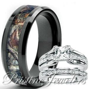 Her Sterling Silver Ring His Black Tungsten Mossy Tree