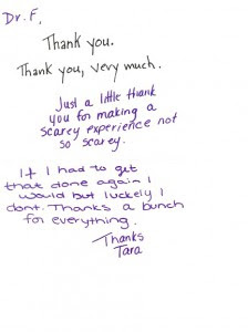 Patient Thank You Notes Exton Pa Dr Peter M Famiglio Associates