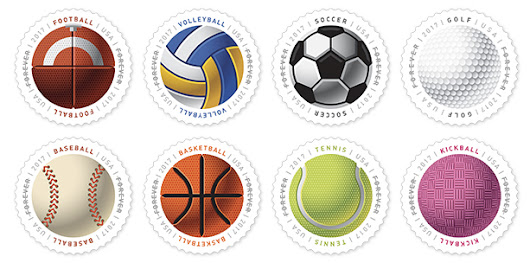 USPS issues circular, textured sports ball stamps