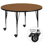Flash Furniture XU-A48-RND-OAK-T-P-CAS-GG Mobile 48 in. Round Oak Thermal Laminate Activity Table - Height Adjustable Short Legs