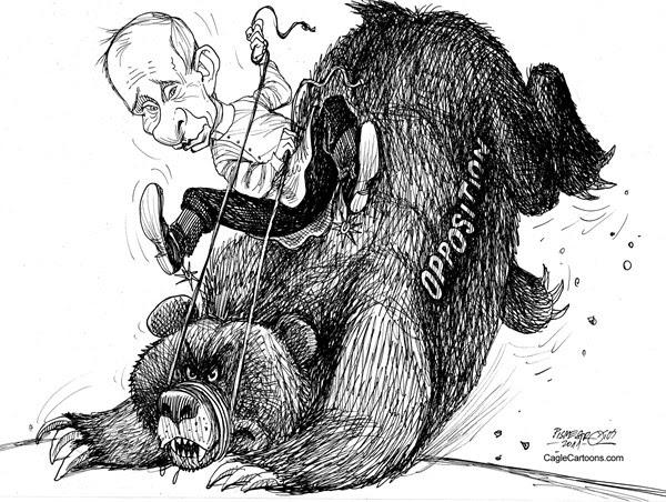 Petar Pismestrovic - Kleine Zeitung, Austria - Russian Rodeo  - English - Vladimir Putin, Russia, Pesident, Election, Duma, Democraty, USA, EU