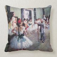 The Dance Class by Edgar Degas throwpillow