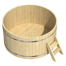 Vasca da bagno a botte in legno massello