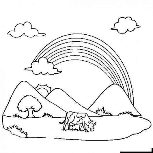Dibujo De Paisaje Con Una Vaca Y Un Arcoiris Al Fondo Para Pintar Y