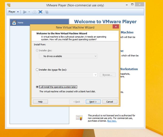 VMWare Player no Windows 8 (Foto: Reprodução/Edivaldo Brito)