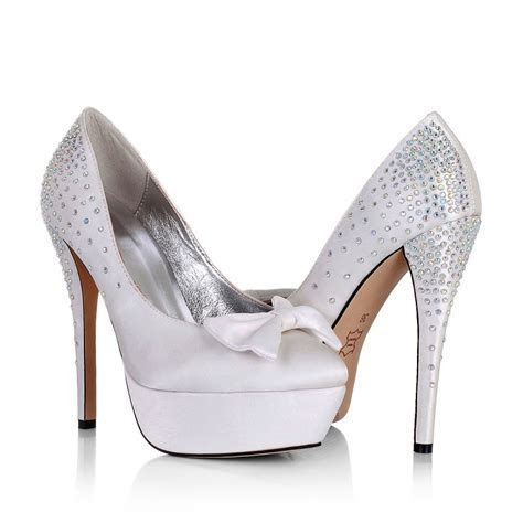 Platform High Heel Bow Rhinestone White Wedding Bridal