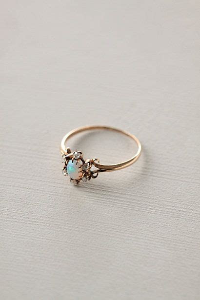 Opal & Diamond Flower Ring   rings and things   Jewelry