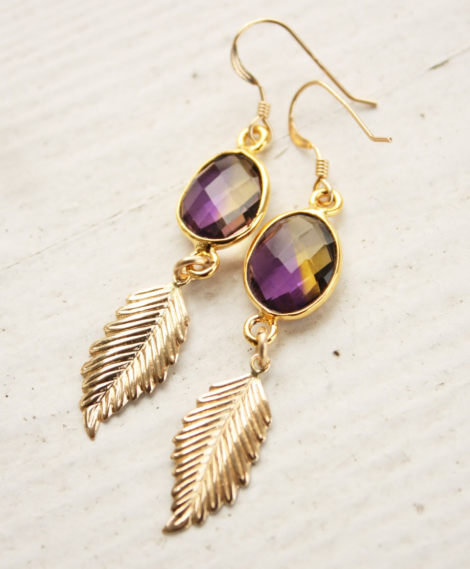 Purple Ametrine and Gold Feathers Necklace - 14kt gold fill - Boho Chic