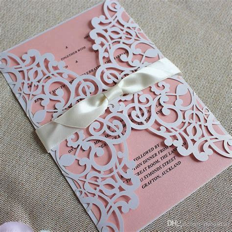 Customize Floral Wedding Invitations White Laser Cutting