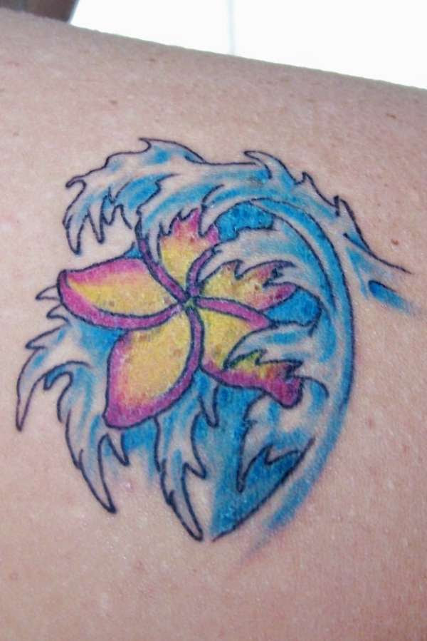 Japanese Flower And Water Wave Tattoo Design