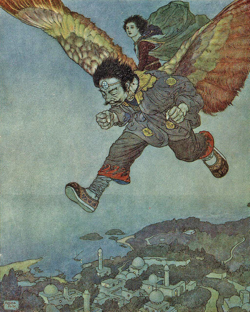 """Edmund Dulac - 'The eagle in the great forest flew swiftly,  but the Eastwind flew more swiftly still.'  from the story """"The Garden of Paradise"""" in Stories from Hans Andersen (1911)"""