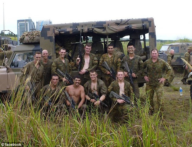 Ashley Johnston (front, second from right) has been remembered by his friends as the 'best mate'