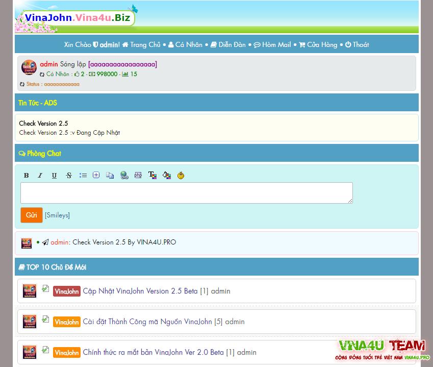 Share Mã Nguồn VinaJohn Version 2.5 Beta Chuẩn Seo