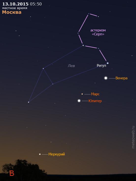Венера, Марс, Юпитер и Меркурий на утреннем небе Москвы 13 октября 2015 г.