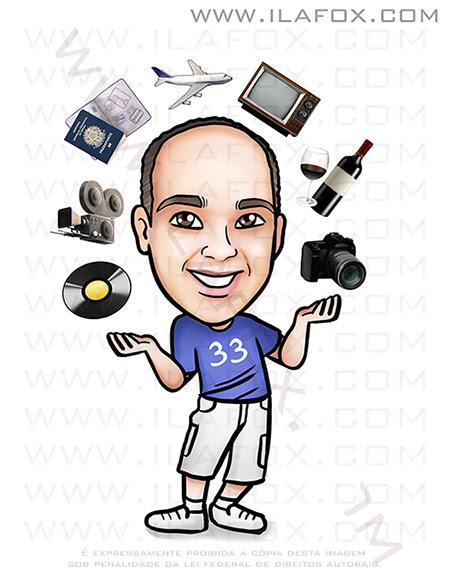 caricatura personalizada, caricatura divertida, caricatura aniversario, caricatura hobby, caricatura homem