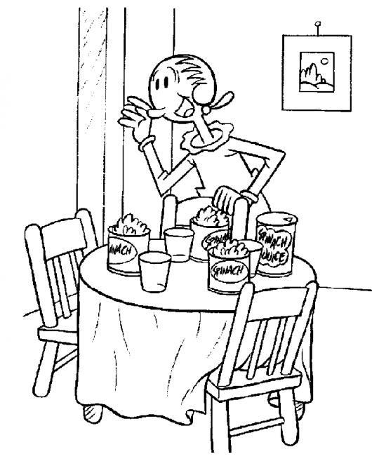 Dibujo De Olivia Novia De Popeye Sirviendo Espinaca En La Mesa Para