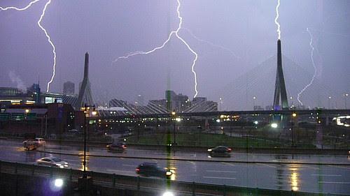 Zakim Bridge lightning