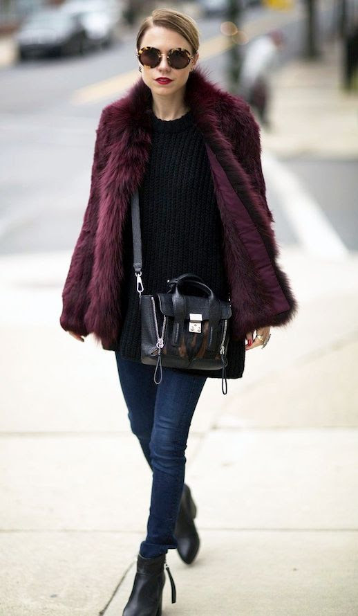 Le Fashion Blog Blogger Style Tortoise Sunglasses Burgundy Fur Coat Black Ribbed Sweater Dark Wash Skinny Jeans Leather Ankle Boots Via Always Judging