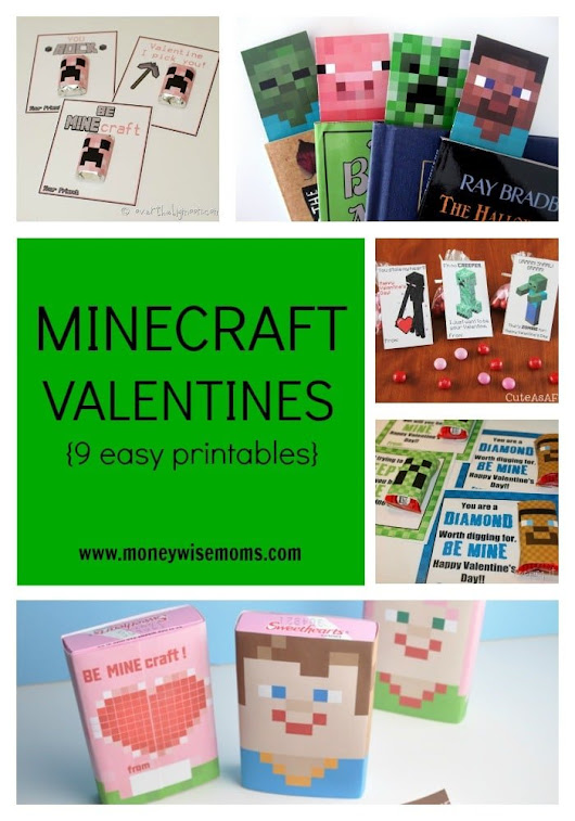 Minecraft Valentines {9 Easy Printables} - Moneywise Moms