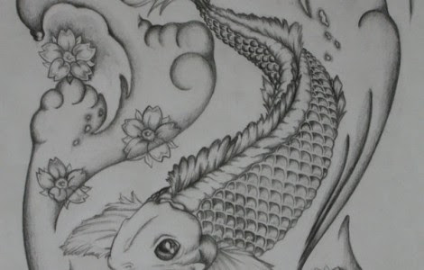 Koi Fish Black And White Tattoo Designs Tattoos Designs Ideas