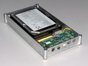 External hard disk enclosure from behind. On t...