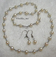 Wire wrapped Pearl Necklace and Earrings