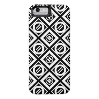 White Equal Sign Geometric Pattern on Black iPhone 6 Case