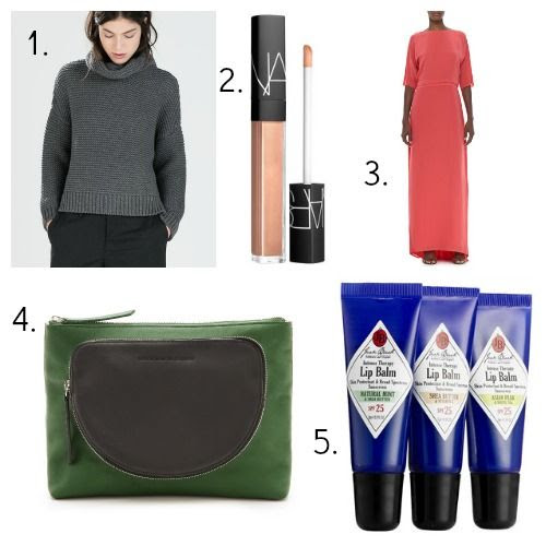 Zara Sweater - Nars Lip Gloss - Halston Heritage Dress - 10 Crosby Derek Lam Clutch - Jack Black Lip Balm