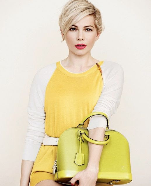 Le Fashion Blog Michelle Williams Louis Vuitton SS 2014 Campaign Short Blonde Hair Haircut Beauty Pink Lipstick Off White Yellow Colorblock Knit Sweater White Leather Belt Neon Yellow Top Handle Bag Photographer Peter Lindbergh 1 photo Le-Fashion-Blog-Michelle-Williams-Louis-Vuitton-SS-2014-Campaign-Yellow-Bag-1.jpg