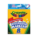 Crayola Broad Line Washable Markers, Bold Colors - 8 Ea