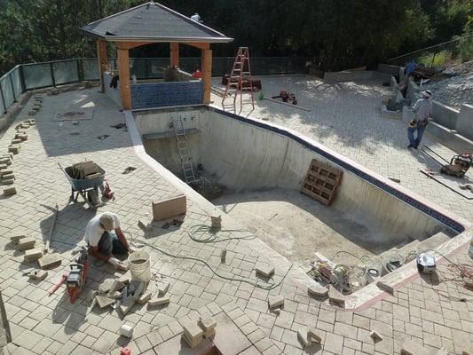 Laying Monarch Stone Pavers around Pool Deck, Cupertino | Yelp