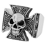 Stainless Steel Silver-Tone Gothic Cross Skull Statement Mens Ring Band