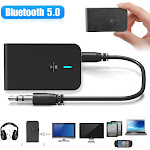 Bluetooth 5.0 Transmitter Receiver, [2-in-1] Wireless Audio Transmitter Adapter with 3.5mm Aux Cable for Home Stereo System, Low Latency [Plug & Play]