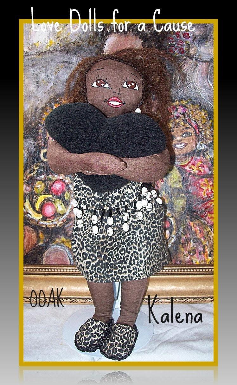 Doll handmade by Linda Rollins-black ooak