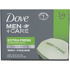 Dove Men + Care Body + Face Bar, Extra Fresh - 14 pack, 4 oz bars