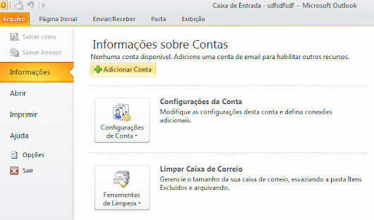 Configurando contas de E-mail no Outlook 2010 - Hospedagem de sites