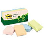 Sticky note Greener Notes MMM-653RPA Recycled Notes- 1.5 x 2- Four Pastel Colors- 12 100-Sheet Pads-Pack