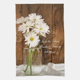 Mason Jar Daisies Country Wedding Save the Date Hand Towels
