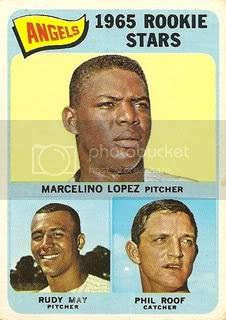 #537 Angels' Rookie Stars: Marcelino Lopez, Rudy May, and Phil Roof