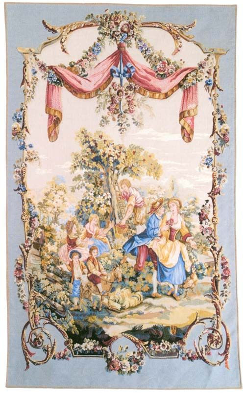 "A ""pastoral"" tapestry wall hanging (Galanterie). These wall hangings are taken from a tapestry by Jean-Baptiste Huet (1745-1811) woven for the first time circa 1780 at the Royal Manufacture of Neauvais. This tapestry is part of a series of ten wall -hangings called Tentures Pastorales."