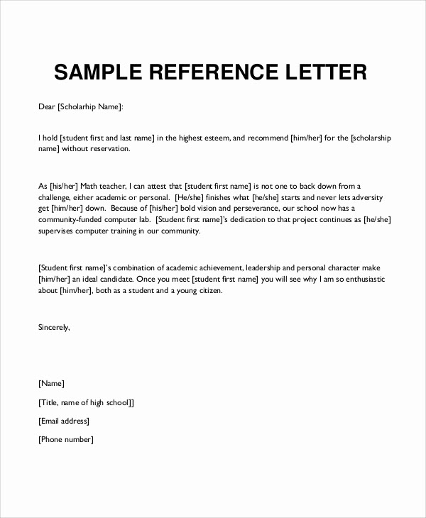 Reference Letter Template Word   brittney taylor