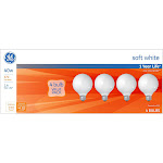 General Electric 40w 4pk G25 Incandescent Light Bulb White