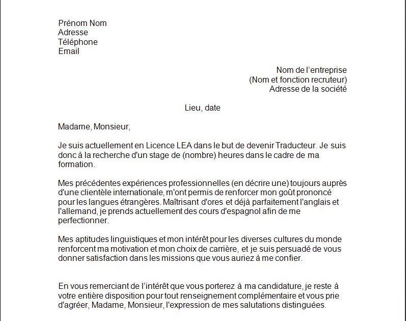 Lettre De Motivation Etudiant Kfc Job Application Cover Letter