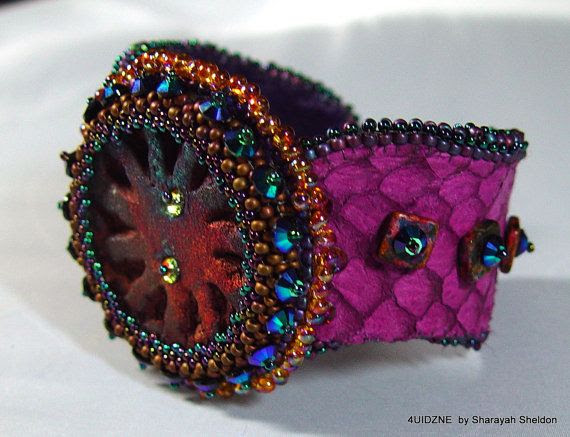 "A Touch of Class  Bead Embroidered Cuff Bracelet. by 4uidzne, $125.00   35% ALL ITEMS  Use code ""2SWEET"""