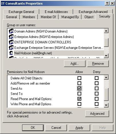Отправка с адреса группы рассылки
