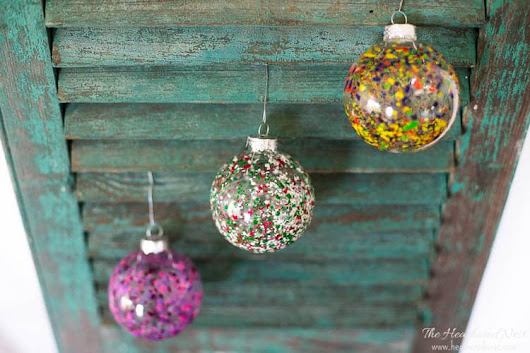 Melted Crayon Art DIY Christmas Ornaments | The Heathered Nest